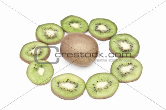 Kiwi fruit sliced in a ring