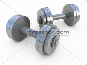 Chromed fitness exercise equipment dumbbells weight isolated on white