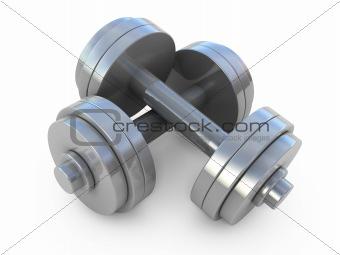 Chromed fitness exercise equipment dumbbells weight isolated on white