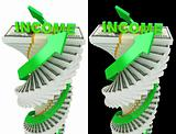 Income growth concept. Spiral dollar stack with arrows isolated on black and white