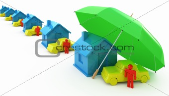 Houses, cars and umbrella