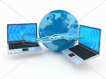 Computer downloading data 3d concept illustration