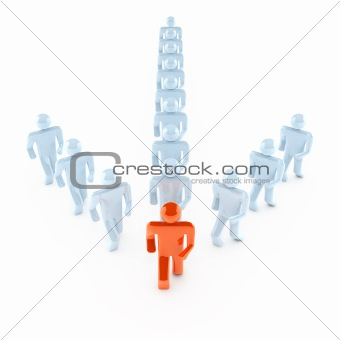 People walking forward. 3d concept isolated on white