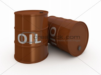 Oil barrels isolated on white
