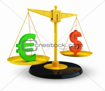 Dollar and Euro currency signs on scales isolated on white