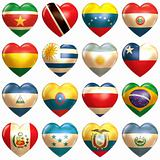 South American Hearts set isolated on white