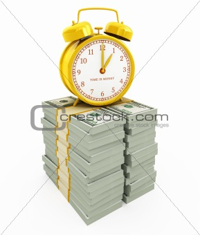 Time is money concept isolated on white. Alarm clock on stacks of dollars