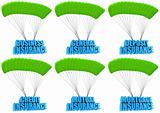 Types of business insurance 3d concept illustration set isolated on white