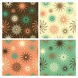 Sparkle Flower Pattern in Green and Salmon