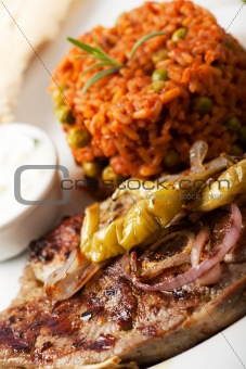 grilled lamb and djuvec rice