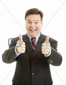 Enthusiastic Businessman Two Thumbs Up