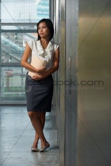 Beautiful Thai Business Woman Office Hallway
