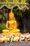 Wet Buddha Statue Flowers Songkran Festival