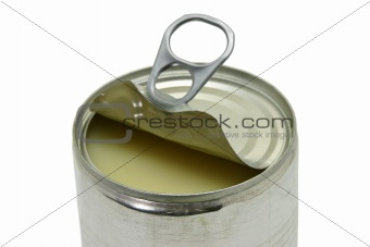Close up of an opened can of condensed milk