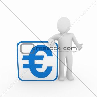 3d man euro blue cube