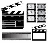 Movie clapper board and filmstrip