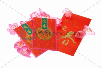 Chinese New Year red packets with plum blossom