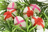 Decorated egg shaped stones for Easter