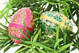 Colorful Easter eggs with floral pattern