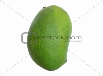 a green mango isolated on white background