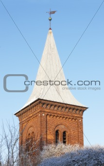 Church tower in winter