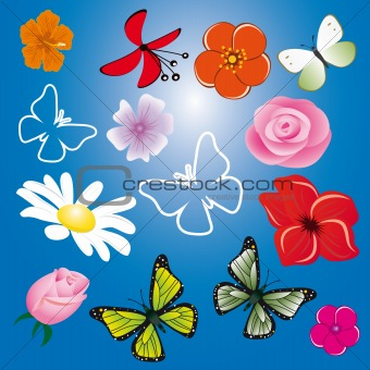 A collection of flowers and butterflies