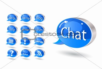 chat, forum, blog, rss, help bubbles