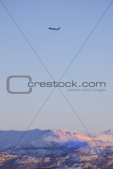 Airplane over Lofoten - snow and mountains