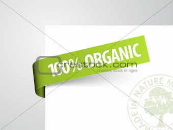 Green paper tag for organic item