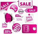 Set of pink discount elements