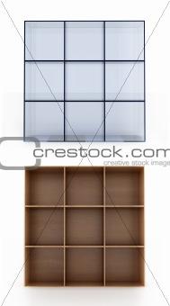 3D shelves on white background