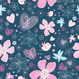pink floral pattern with birds