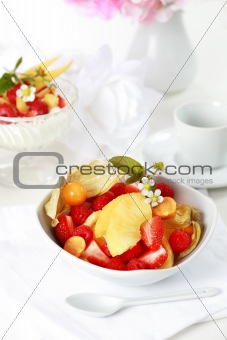 Natural yogurt with fresh fruits