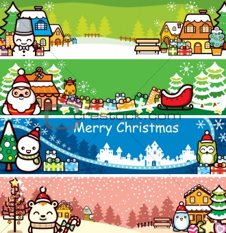 Cartoon Christmas Banner Set
