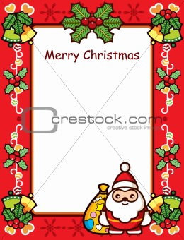 Abstract Christmas Frame With Santa and Holly