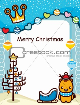 Abstract Christmas Frame With Deer
