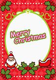 Christmas Oval Frame  Background with Santa