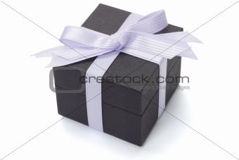 Black gift box with bow ribbon