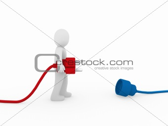 3d human man plug red blue