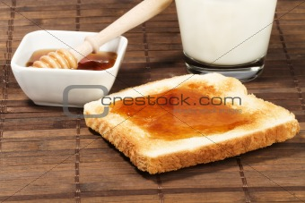 toast with honey and milk