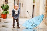 Little girl on rainy day