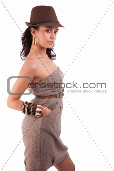 beautiful woman with elegant dress and hat, on white, studio shot