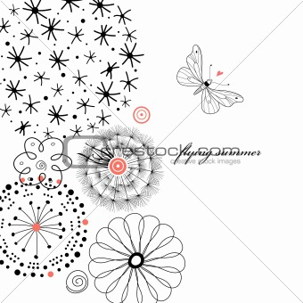 black flowers with a butterfly graphic