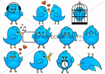 blue bird icons, vector