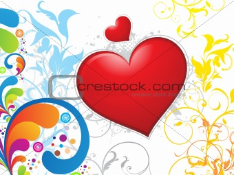 abstract colorful floral heart background