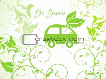 abstract green eco background with car