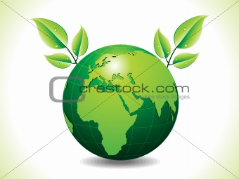 abstract green eco globe with leaf