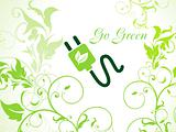 abstract green floral background with plug