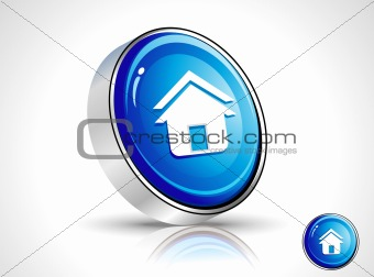 abstract shiny blue home icon