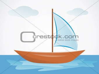 abstract summer boat with sea
